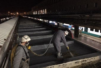 COVERFLEX ROOFING ON PLATFORM SHELTERS ROME TERMINI STATION (MASTERSEAL ROOF 2111 BASF WATERPROOFING SYSTEM)